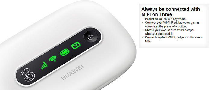 Portable wifi internet needed for your ipad, ipod touch, netbook, laptop, notebook...then look no further 3 have just laucned the most economic E5331 high speed high perfomance MIFI mobile broadband modem. We ALWAYS have stock of this popular selling device and we offer it in both white and black colours. The device is a Pay as you go PAYG, and there is no fixed contract involved, simply topup and go! We offer these are as starter kits with 1GB/1 month & 3GB/3 month preloaded packages
