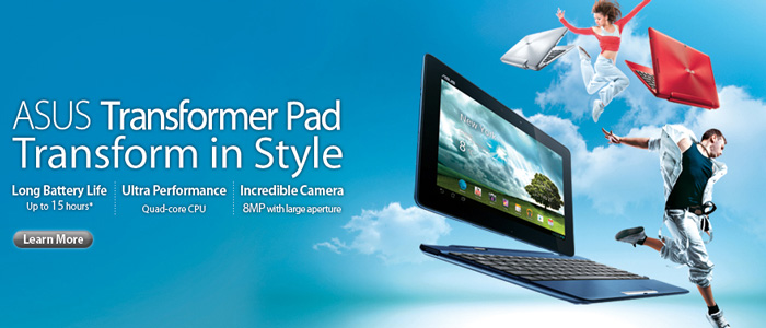 KSN have stock of the complete Asus tablet pc range including Infinity, Prime and TF101, TF201 and the all new TF700 series tablets. Andriod and windows driven options avaliable. With or without the keyboard Dock.
